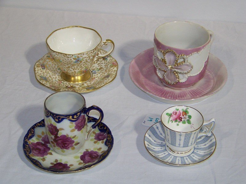 19: 4 Vintage Hand Painted Cups & Saucers