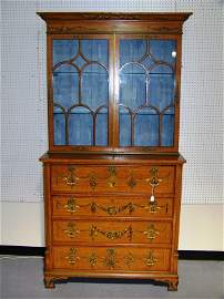 108: 19TH C. H.Painted English Satinwood Cabinet w/Desk