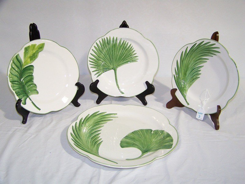 """3: Lg. Hand Painted Italian """"Vietri"""" Charger and 3 Plat"""
