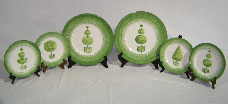 """4: 6 Hand Painted Italian """"Vietri"""" Chargers & Plates"""
