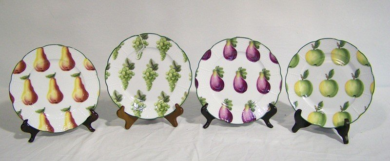 """6: 4 Hand Painted """" A.Raynaud & Co."""" Limoges Fruit Plat"""