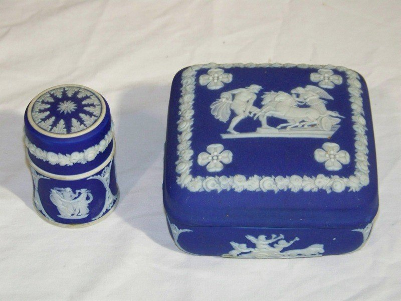 11: Pr. Vintage Wedgwood Jasper ware Pcs. Dresser Box &