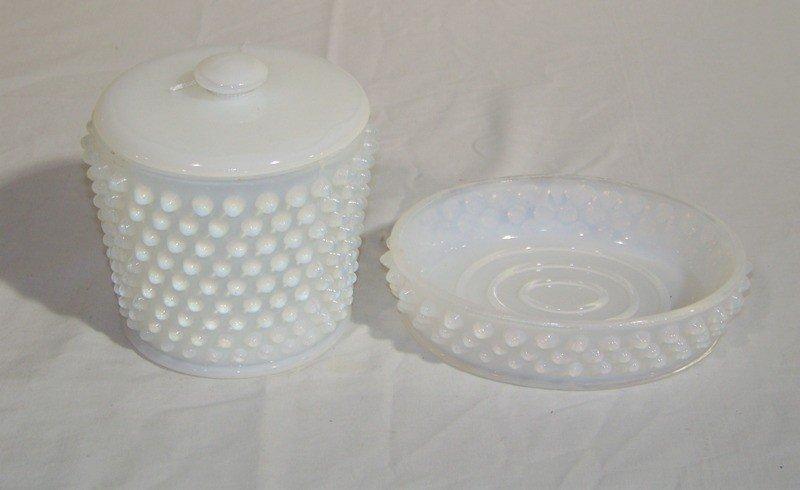 21: Vintage White Translucent Opaline Hobnail Glass Pcs