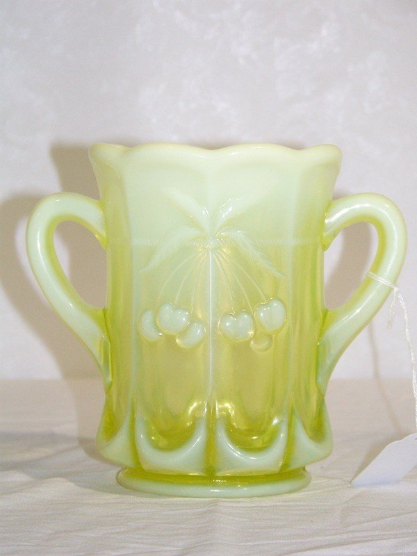 24: Vintage Carnival Custard Glass Loving Cup w/ Cherri