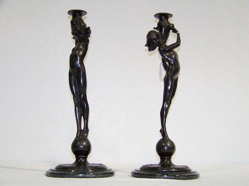 92:Edward McCartan  (1879 - 1947) Bronze Figural Candle