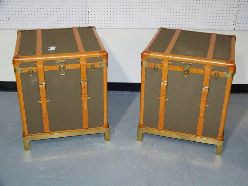 304: Pair of Ralph Lauren Leather Trunk Tables on Brass