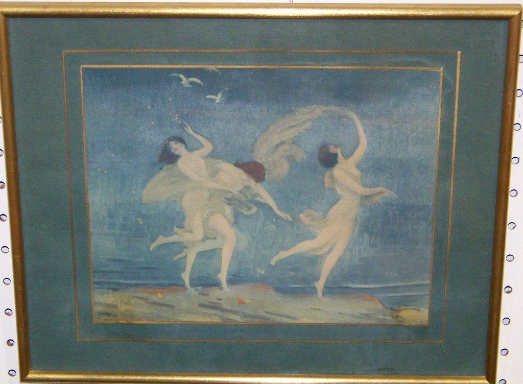 153: Vintage Print of Nymphs by Campbell Art Company