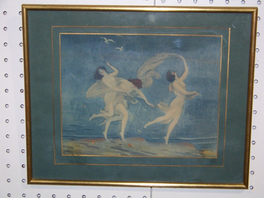 153: Vintage Print of Nymphs by Campbell Art Company - 2