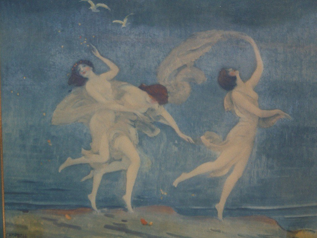 153: Vintage Print of Nymphs by Campbell Art Company - 3