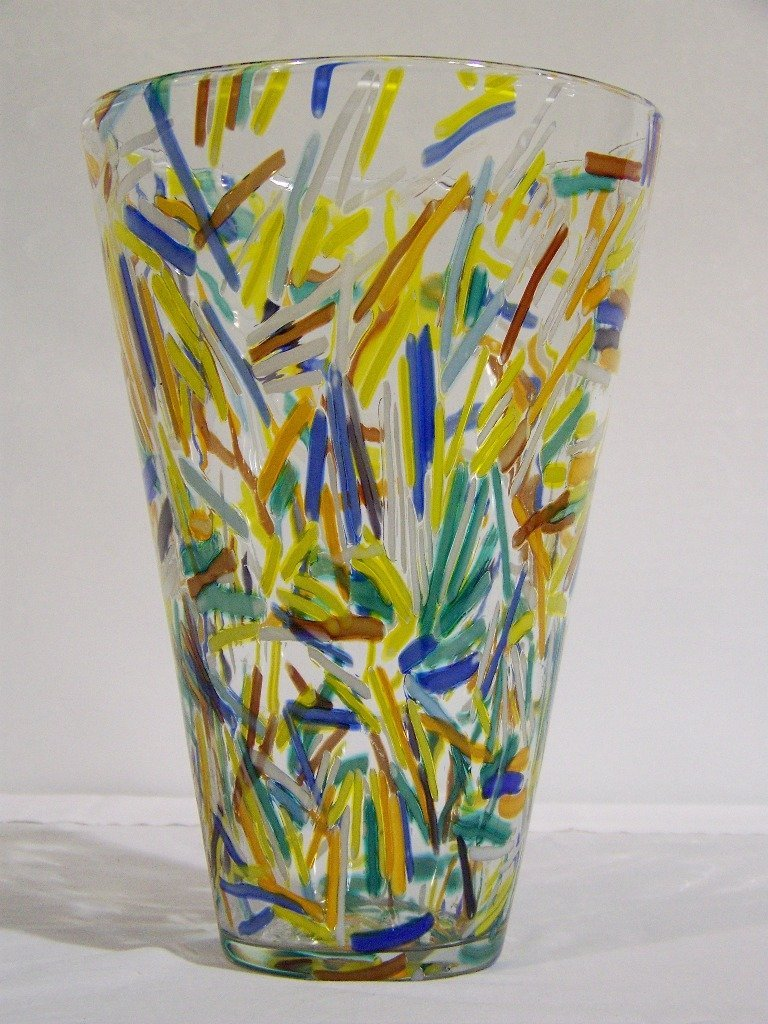 "5: Large 12"" Multi Colored Murano Art Glass Vase"