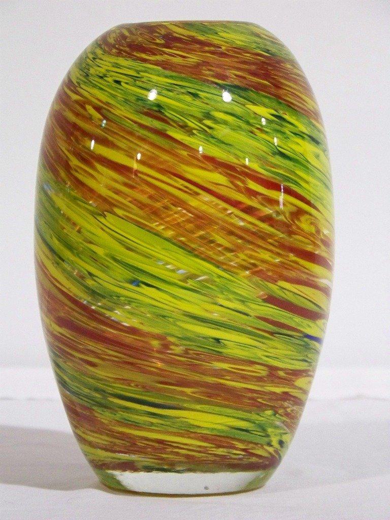 3: Thick Murano Art Glass Swirl Design Vase