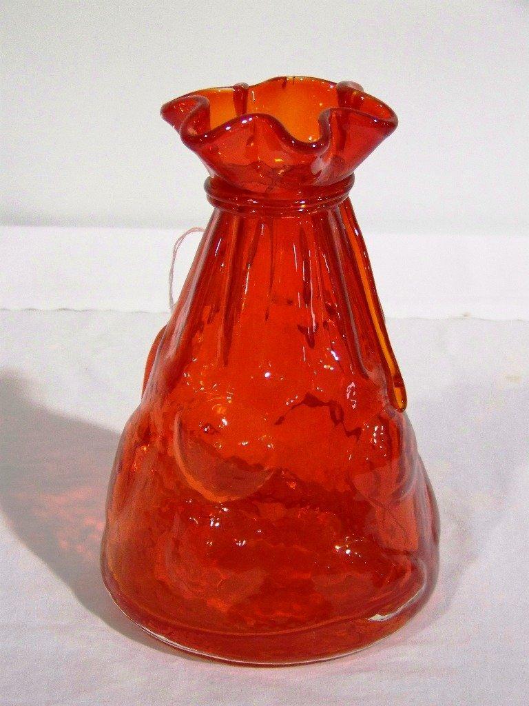 4: Vintage Hand Blown Ruby Glass Ruffled Edge Vase