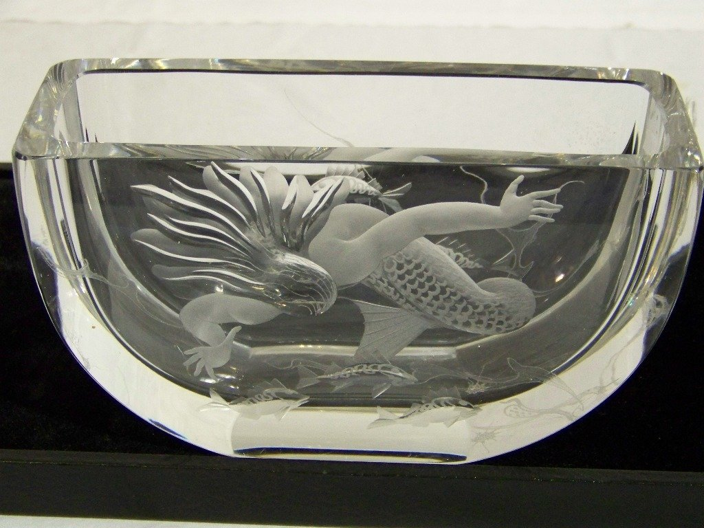 6: Early Art Deco Signed Cut Crystal Mermaid & Fish Vas