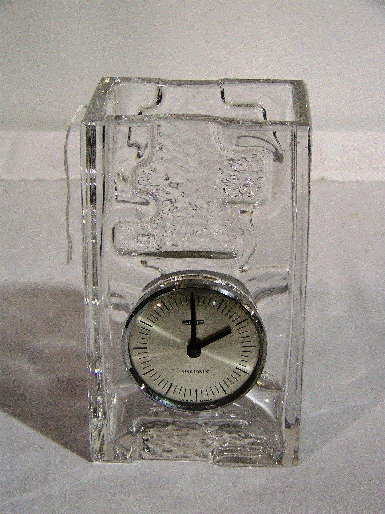 7: Great Vintage Modern Art Glass Clock / Vase