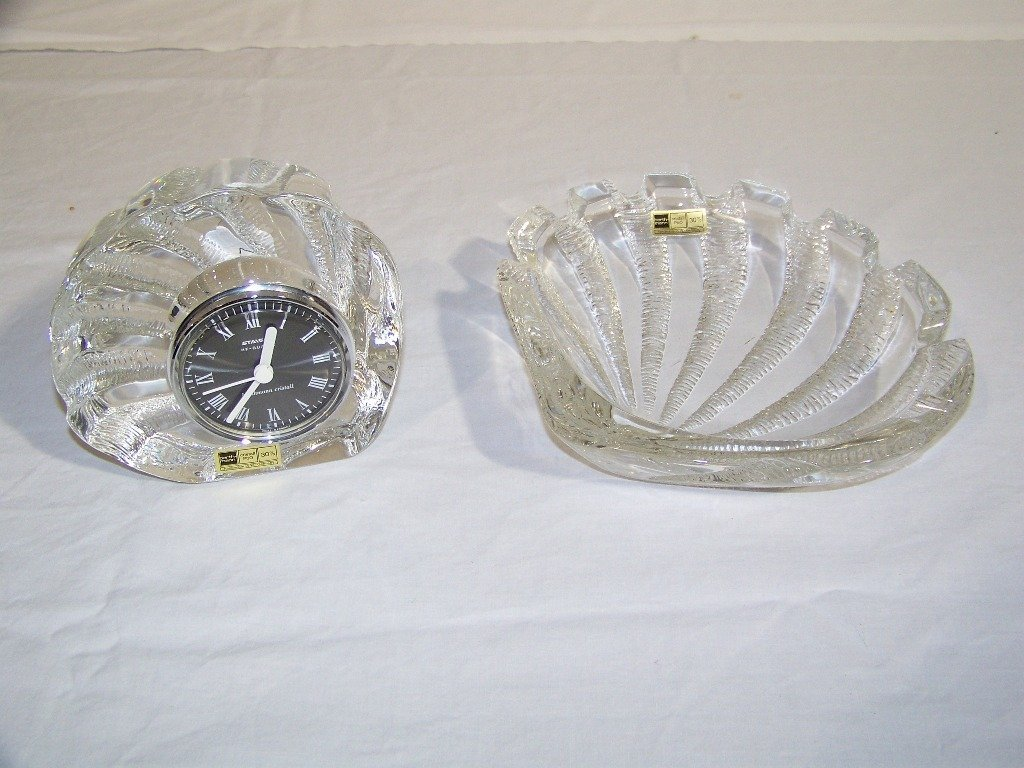 9: Pair of Vintage Barth-Mann Crystal Shell Clock & Tra