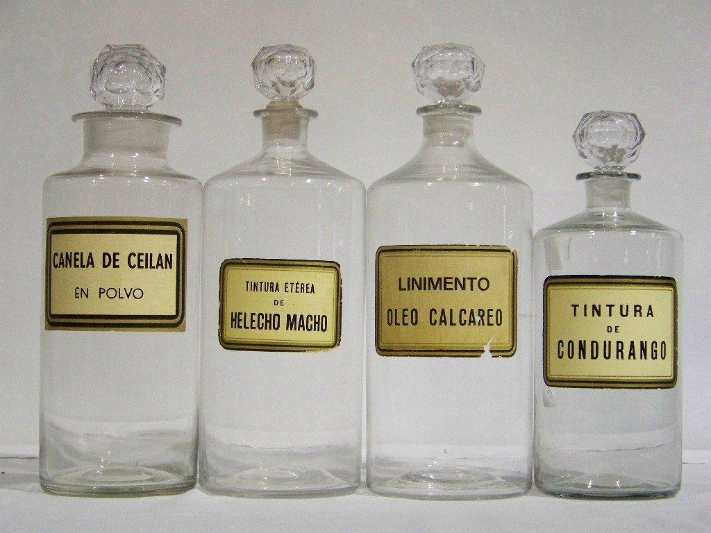 16: 4 Antique Apothecary Medical Bottles