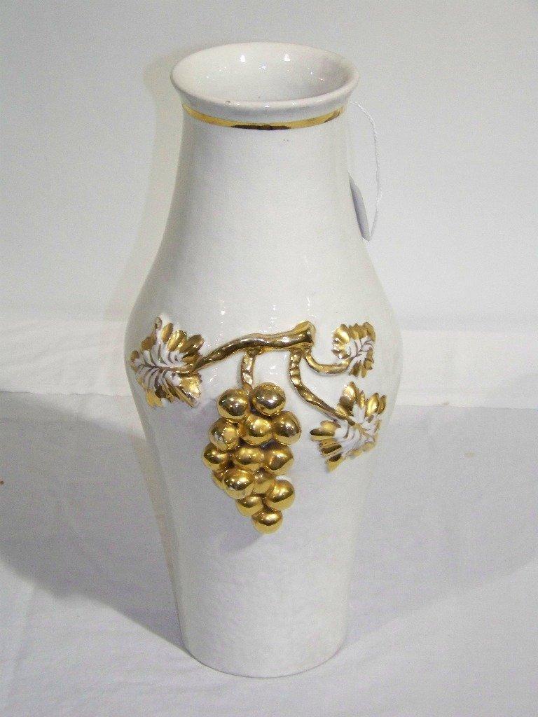 """19: Vintage Italian Grape Handled 14 1/2"""" Pottery Vase"""
