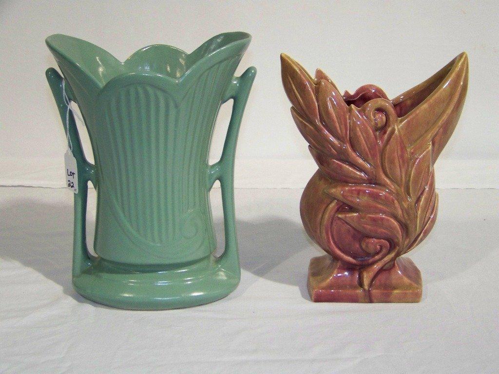 22: Pr. of Art Deco Style Signed Pottery Vase's