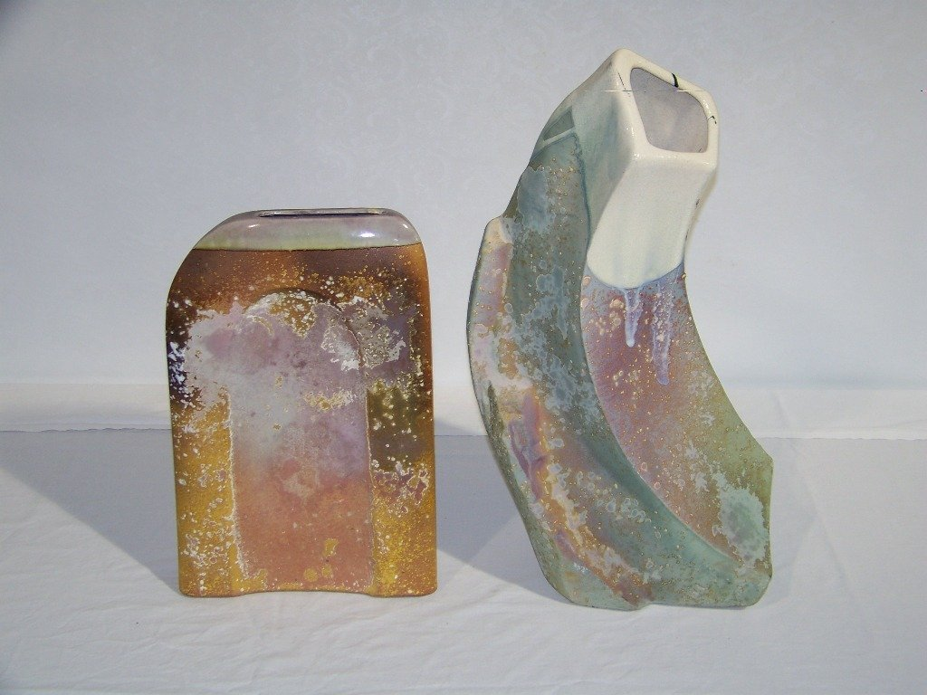 """23: Pair of Modern Signed """"Evans"""" Abstract Pottery Vase"""