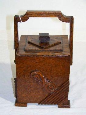 Antique Folk Art Wooden Carved Handle Tea Caddy
