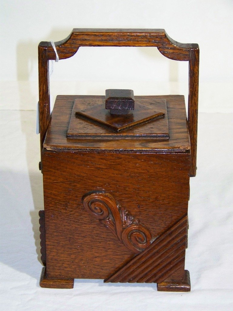 38: Antique Folk Art Wooden Carved Handle Tea Caddy