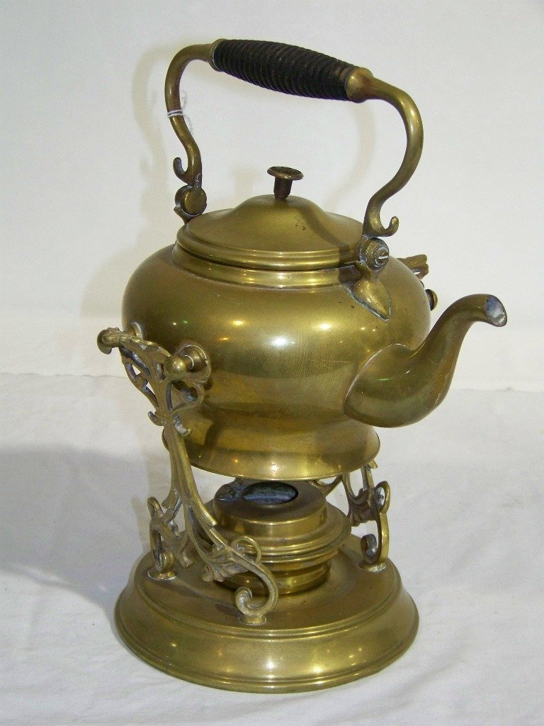 35: Antique SS & Co. Brass Teapot & Stand w/ Burner