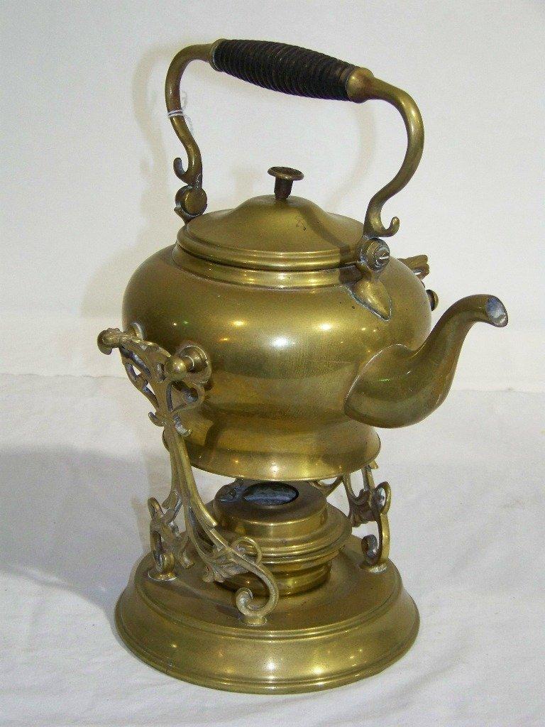 35: Antique SS & Co. Brass Teapot & Stand w/ Burner
