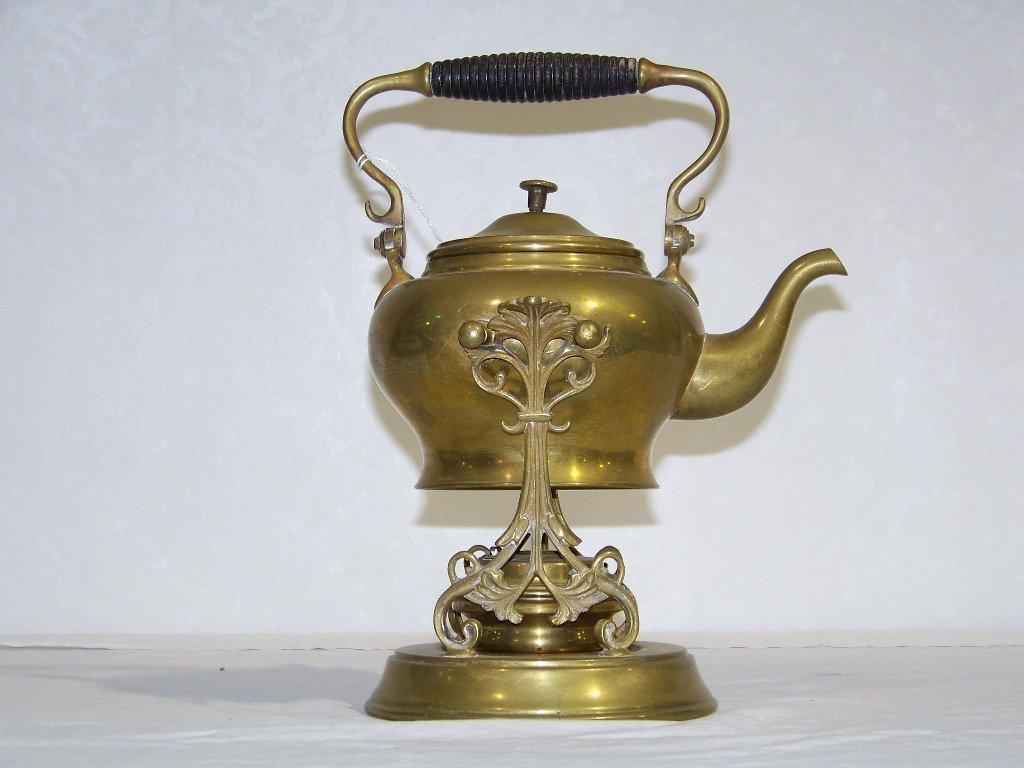 35: Antique SS & Co. Brass Teapot & Stand w/ Burner - 2