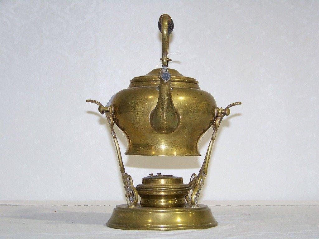 35: Antique SS & Co. Brass Teapot & Stand w/ Burner - 5
