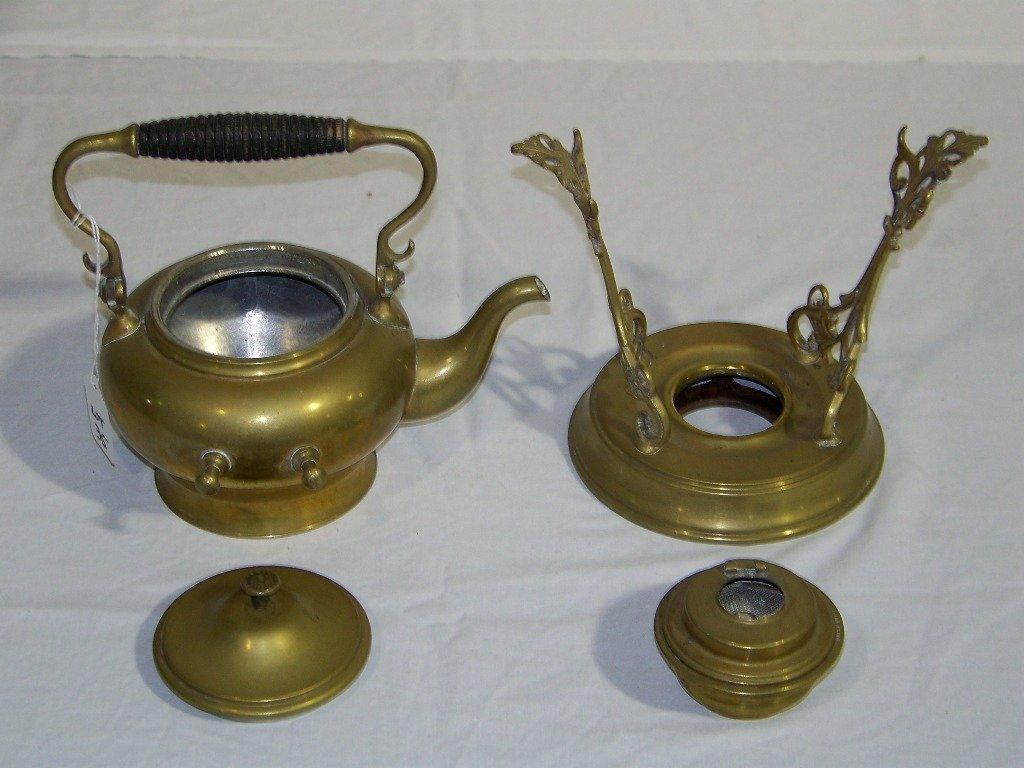 35: Antique SS & Co. Brass Teapot & Stand w/ Burner - 6