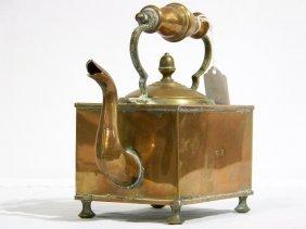 Fine 19th C. Copper Bun Footed Tea Kettle
