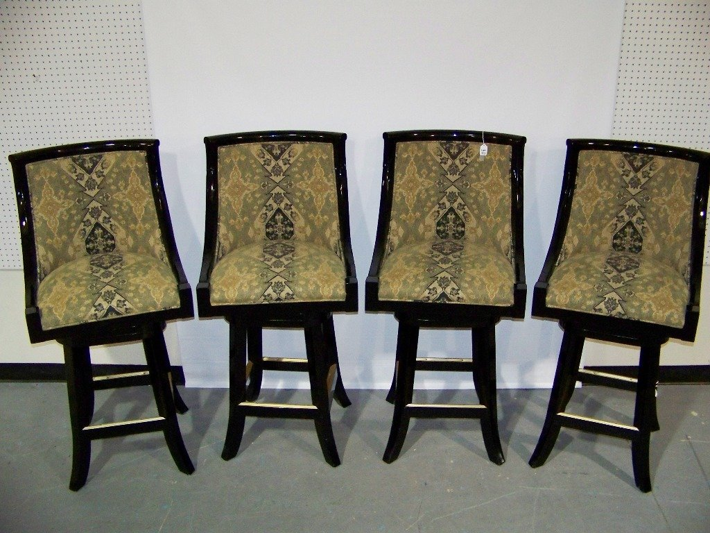 137: 4 Great High End Black Lacquer Swivel Bar Stools - 2