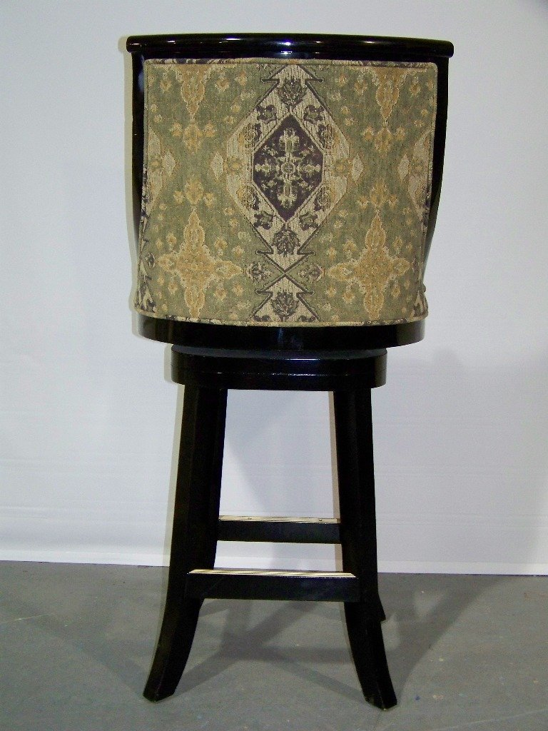 137: 4 Great High End Black Lacquer Swivel Bar Stools - 5
