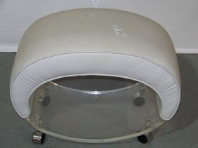 Mid C. Modern Oval Lucite Vanity Bench