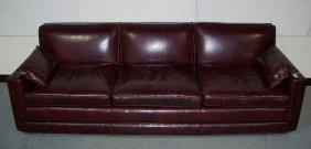 Vintage Modern Burgundy Davenport Sofa