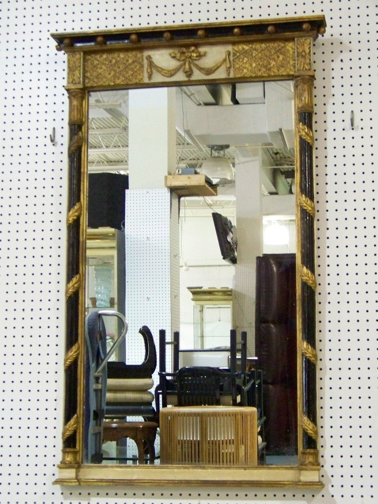 274: Great Vintage Neo Classical Wood Carved Mirror