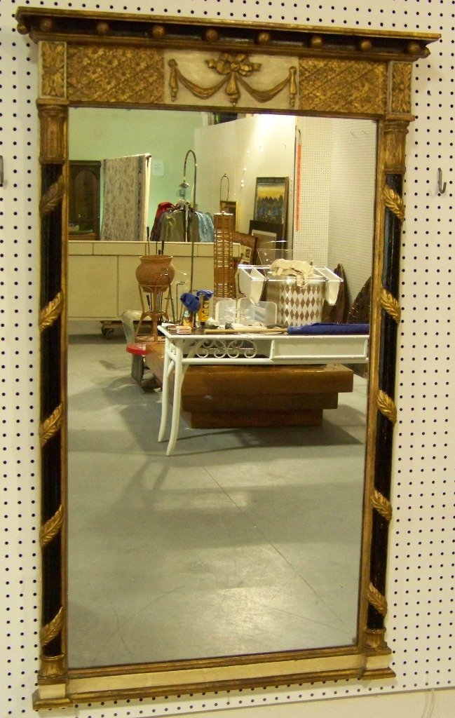 274: Great Vintage Neo Classical Wood Carved Mirror - 2