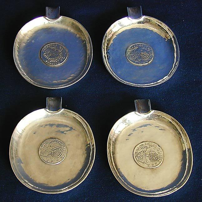 157: SET OF 4 TH. HEIDEN STERLING ASHTRAYS W/ 18THC COI