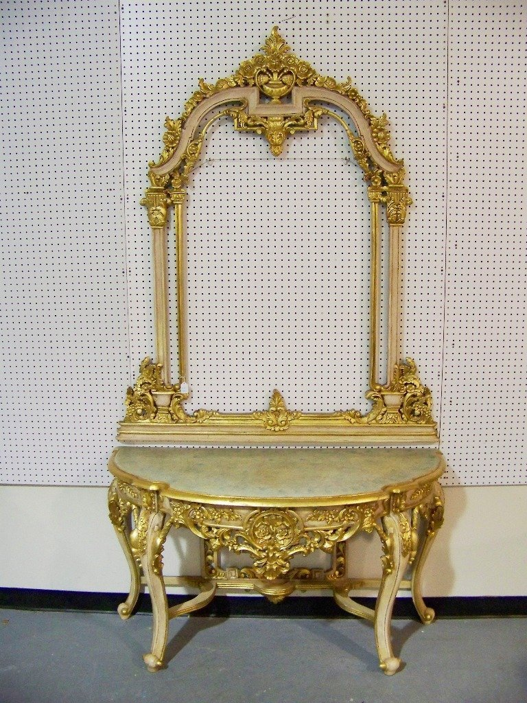 149B Vintage Italian Florentine Style Vanity & Mirror