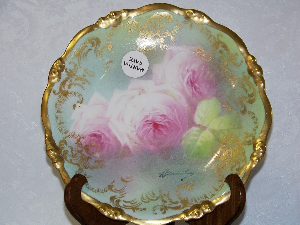 2: Vintage H/P & Signed Elite Works Limoges Floral Plat