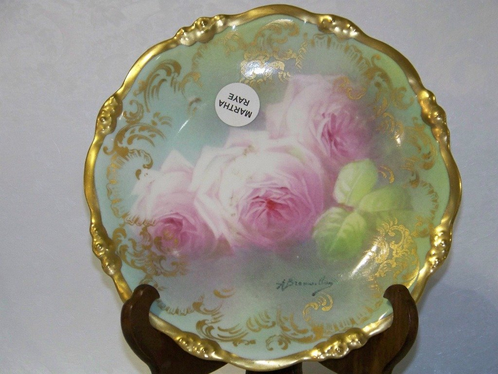 2: Vintage H/P & Signed Elite Works Limoges Floral Plat - 2