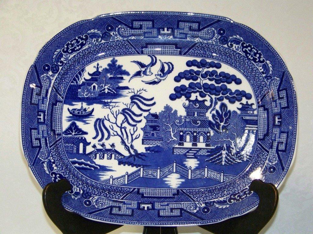 9: Rare Allertons Scalloped Edge Blue Willow Platter