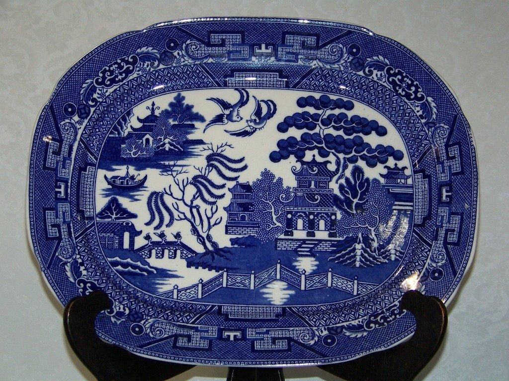 9: Rare Allertons Scalloped Edge Blue Willow Platter - 2