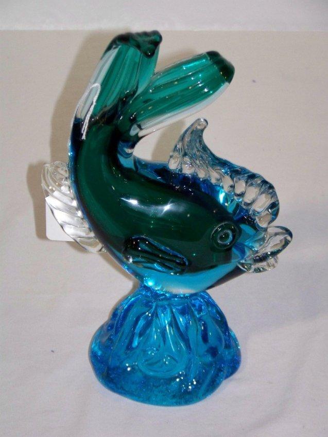 40 vintage modern italian murano art glass fish on wav for Murano glass fish