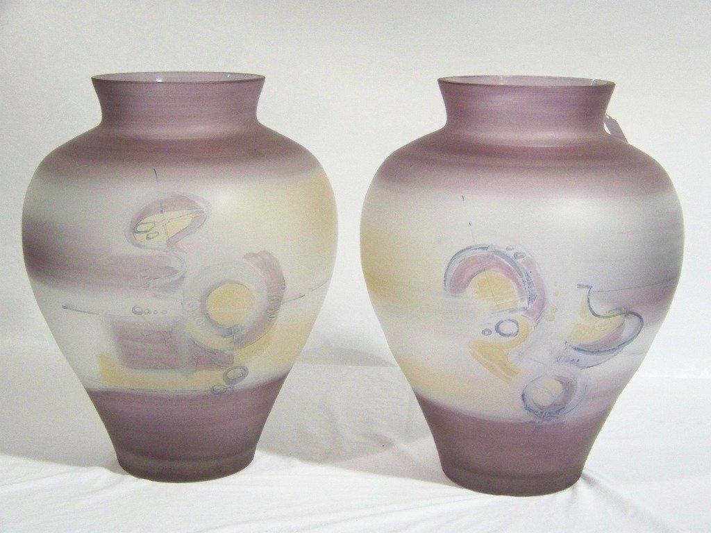 """74: Pair of Massive 18"""" Signed Jon Art Art Glass Vase's"""
