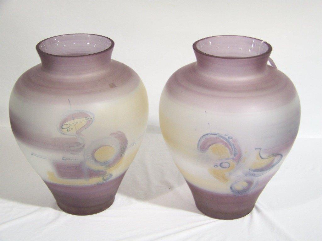 """74: Pair of Massive 18"""" Signed Jon Art Art Glass Vase's - 2"""