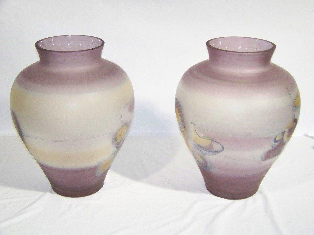 """74: Pair of Massive 18"""" Signed Jon Art Art Glass Vase's - 3"""
