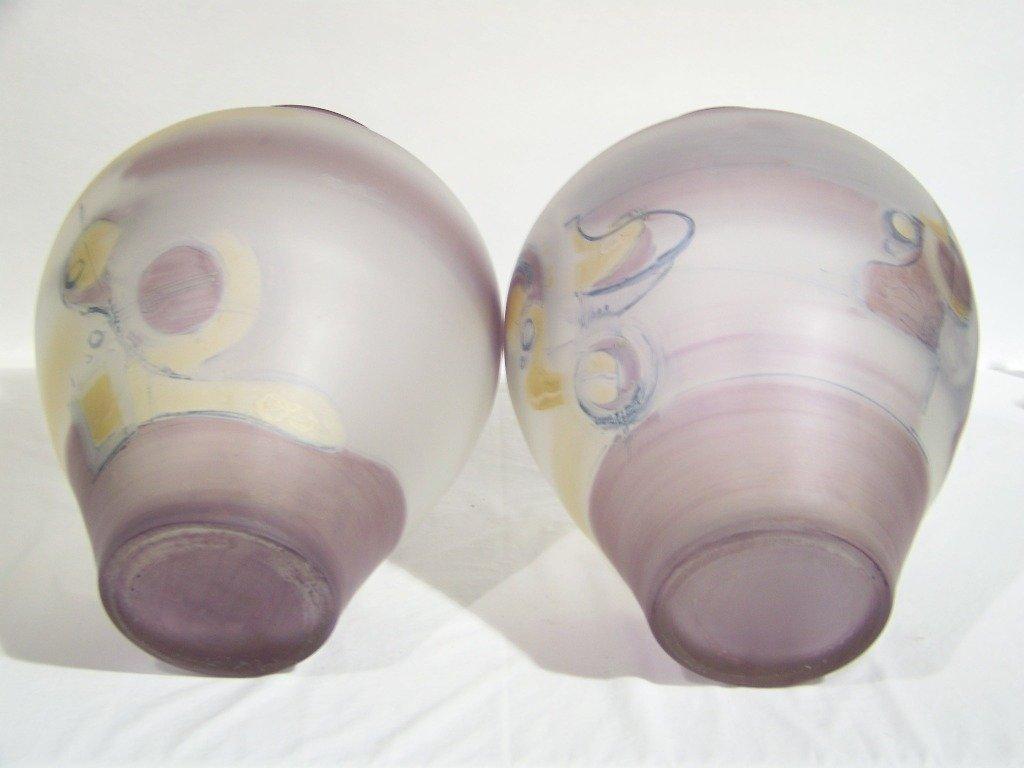 """74: Pair of Massive 18"""" Signed Jon Art Art Glass Vase's - 4"""