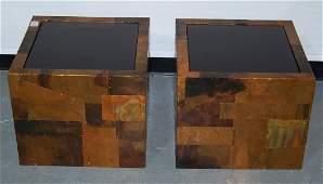 105: Pair Paul Evans Copper Patchwork End Tables