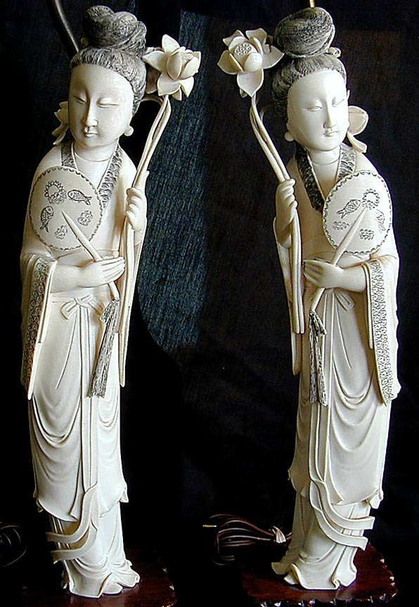 """191: PR CHINESE IVORY LAMPS FIGURES OF HE XIANGU 15""""H"""